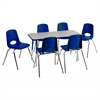 "Rect. 24""x48"" Table GBL-TS & 6-10""BLG Chairs"