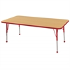 "24""x60"" Rectangular T-Mold Activity Table, Maple/Red/Toddler Ball"