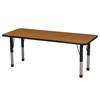 "24""x60"" Rectangular T-Mold Activity Table, Oak/Black/Chunky"