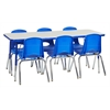 "ECR4Kids Rect. 24""x60"" Table GBL-TS & 6-10""BLG Chairs"