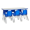 "ECR4Kids Rect. 24""x60"" Table GBL-SS & 6-12""BLG Chairs"