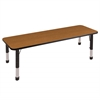 "24""x72"" Rectangular T-Mold Activity Table, Oak/Black/Chunky"