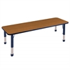 "24""x72"" Rectangular T-Mold Activity Table, Oak/Navy/Chunky"
