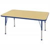 "ECR4Kids 30x48"" Rect Table Maple/Blue -Standard Ball"