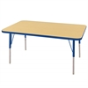 "30""x48"" Rectangular T-Mold Activity Table, Maple/Blue/Standard Swivel"