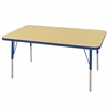 "ECR4Kids 30x48"" Rect Table Maple/Blue -Standard Swivel"