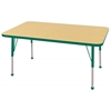 "30""x48"" Rectangular T-Mold Activity Table, Maple/Green/Toddler Ball"