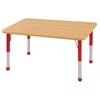 "30""x48"" Rectangular T-Mold Activity Table, Maple/Maple/Red/Chunky"