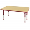 "ECR4Kids 30x48"" Rect Table Maple/Red -Chunky"