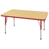 "30""x48"" Rectangular T-Mold Activity Table, Maple/Red/Standard Ball"