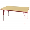 "ECR4Kids 30x48"" Rect Table Maple/Red -Standard Ball"