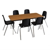 "ECR4Kids 30x48"" Rect Table Oak/Black-Standard Swivel"