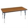 "30""x48"" Rectangular T-Mold Activity Table, Oak/Navy/Toddler Swivel"