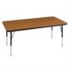 "30""x60"" Rectangular T-Mold Activity Table, Oak/Black/Standard Swivel"