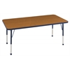 "30""x60"" Rectangular T-Mold Activity Table, Oak/Navy/Standard Ball"