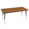"30""x72"" Rectangular T-Mold Activity Table, Oak/Black/Standard Swivel"