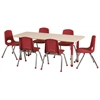 "36""x72"" Rectangular T-Mold Activity Table, Maple/Maple/Red/Chunky"