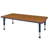 "36""x72"" Rectangular T-Mold Activity Table, Oak/Navy/Chunky"