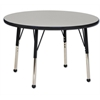 "36"" Round T-Mold Activity Table, Grey/Black/Standard Ball"