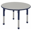 "36"" Round T-Mold Activity Table, Grey/Navy/Chunky"