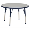 "36"" Round T-Mold Activity Table, Grey/Navy/Standard Ball"