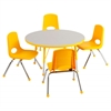 "ECR4Kids 36"" Round Table Grey/Yellow-Standard Ball"