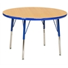 "36"" Round T-Mold Activity Table, Maple/Blue/Toddler Swivel"