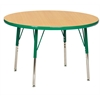 "36"" Round T-Mold Activity Table, Maple/Green/Standard Swivel"