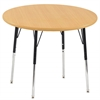 "36"" Round T-Mold Activity Table, Maple/Maple/Black/Standard Swivel"