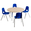 "36"" Round T-Mold Activity Table, Maple/Maple/Blue/Standard Swivel"