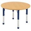 "36"" Round T-Mold Activity Table, Maple/Maple/Navy/Chunky"