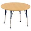 "36"" Round T-Mold Activity Table, Maple/Maple/Navy/Standard Ball"