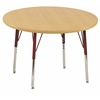 "36"" Round T-Mold Activity Table, Maple/Maple/Red/Standard Swivel"