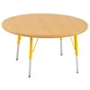 "36"" Round T-Mold Activity Table, Maple/Maple/Yellow/Standard Swivel"
