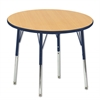 "36"" Round T-Mold Activity Table, Maple/Navy/Standard Swivel"