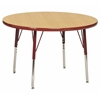 "ECR4Kids 36"" Round Table Maple/Red -Standard Swivel"