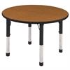 "36"" Round T-Mold Activity Table, Oak/Black/Chunky"