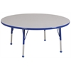 "48"" Round T-Mold Activity Table, Grey/Blue/Standard Ball"