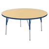"48"" Round T-Mold Activity Table, Maple/Blue/Standard Swivel"
