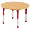 "48"" Round T-Mold Activity Table, Maple/Maple/Red/Chunky"
