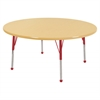 "48"" Round T-Mold Activity Table, Maple/Maple/Red/Standard Ball"
