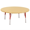 "48"" Round T-Mold Activity Table, Maple/Maple/Red/Standard Swivel"
