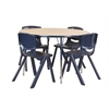 "ECR4Kids 48"" Round Table Maple/Navy -Standard Swivel"