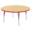 "48"" Round T-Mold Activity Table, Maple/Red/Standard Swivel"