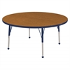 "48"" Round T-Mold Activity Table, Oak/Navy/Toddler Ball"