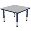 "30"" Square T-Mold Activity Table, Grey/Navy/Chunky"
