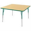 "30"" Square T-Mold Activity Table, Maple/Green/Standard Swivel"
