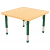 "30"" Square T-Mold Activity Table, Maple/Maple/Green/Chunky"