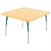 "30"" Square T-Mold Activity Table, Maple/Maple/Green/Standard Swivel"