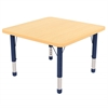 "30"" Square T-Mold Activity Table, Maple/Maple/Navy/Chunky"